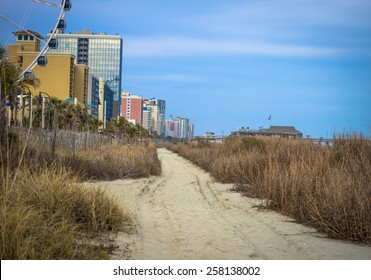 Downtown Myrtle Beach. The Atlantic Coast and beach path in downtown Myrtle Beach, South Carolina.