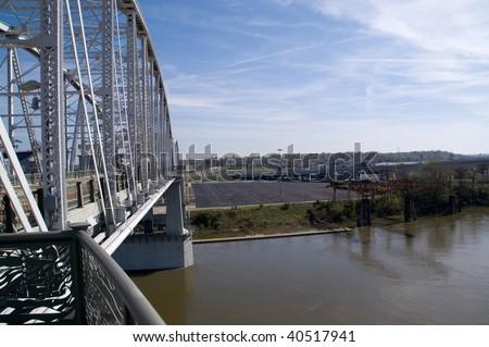 Downtown Nashville Tennessee Metal Bridge Stock Photo (Edit