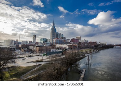 Downtown Nashville, TN with view of the river from the walking bridge