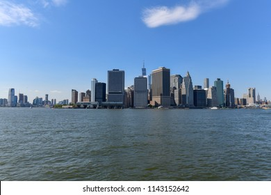 Downtown New York City as seen from the water from Brooklyn.