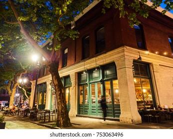 downtown night life scene