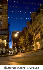 A downtown night scene in the city of Providence Rhode Island.