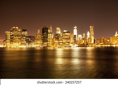 Downtown NYC skyline at night