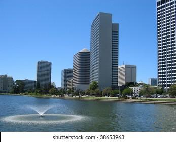 Downtown Oakland from Lake Merritt, with landmark Kaiser Center Building