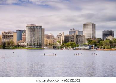 Downtown Oakland as seen from across Lake Merritt on a cloudy spring day, San Francisco bay area, California