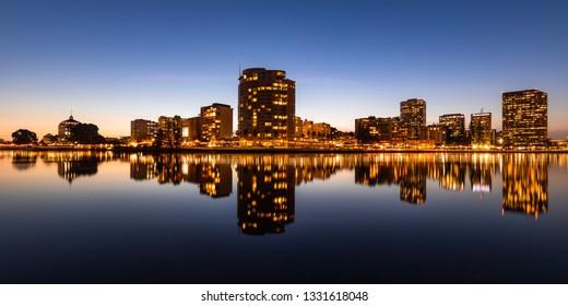 Downtown Oakland Skyline On Lake Merritt