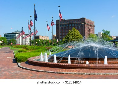 Downtown Omaha Nebraska Water Fountain and American Flags