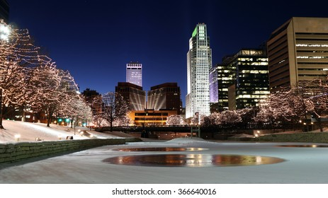 Downtown Omaha shines with the holidays lights.