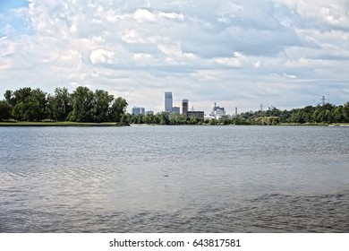 Downtown Omaha skyline viewed from Carter Lake Iowa