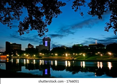 Downtown on the river at dusk in Wichita Kansas.