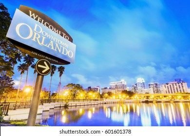 Downtown Orlando. City skyline. Located in Lake Eola Park, Orlando, Florida, USA.