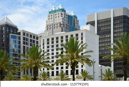 Downtown Orlando high rise buildings from street level