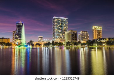 Downtown Orlando from Lake Eola Park at Dusk