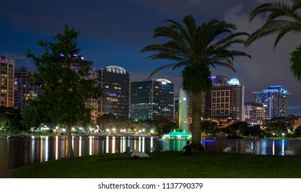 Downtown Orlando at night from Lake Eola