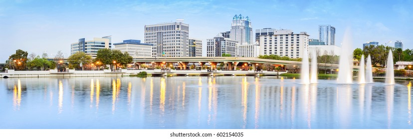 Downtown Orlando Skyline. Located in Lake Eola Park, Orlando, Florida, USA.