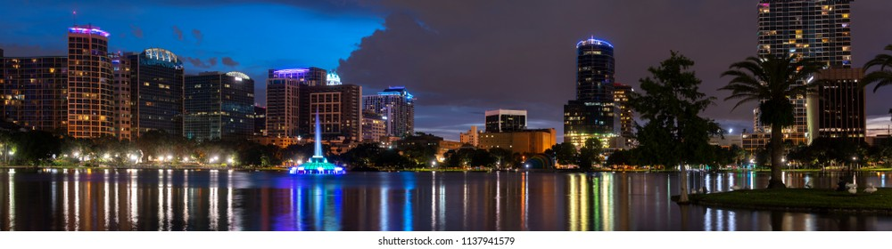 Downtown Orlando skyline at night at Lake Eola