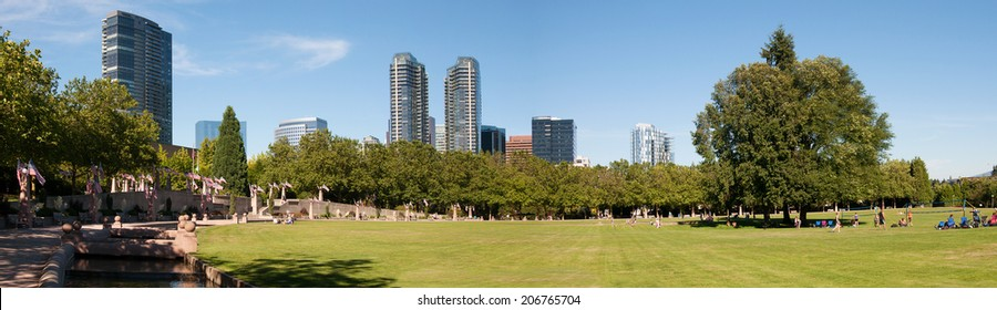 Downtown park of Bellevue, panorama, skyline with new building, summer day