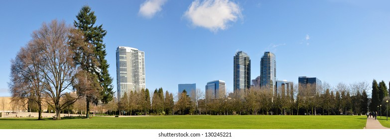 Downtown park of Bellevue, panoramic view with high buildings