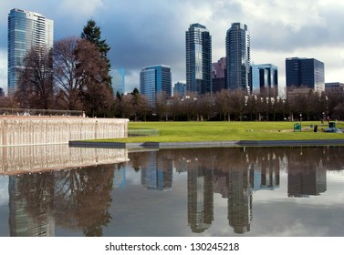 Downtown park of Bellevue at the rainy day