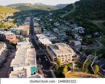 Downtown Park City, Utah aerial main street landscape views