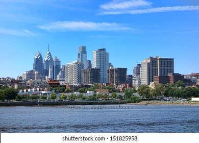 Downtown Philadelphia Center City scenic cityscape with apartment and office buildings skyline in front of skyscraper towers on the Delaware River in Pennsylvania
