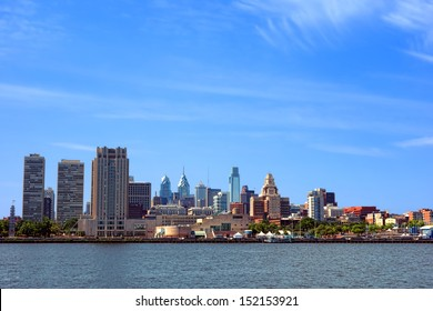 Downtown Philadelphia Pennsylvania Center and Old City scenic cityscape with skyscraper buildings and historic landmarks in a skyline over the Delaware River