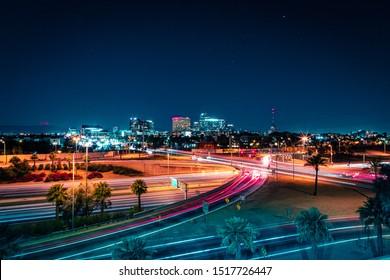 Downtown Phoenix, Arizona and Highway at Night