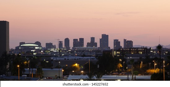 Downtown Phoenix, Arizona skyline at sunset