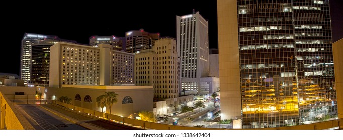 Downtown Phoenix at Night from rooftop parking garage