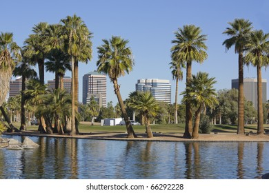 Downtown of Phoenix as seen from Encanto park, Arizona