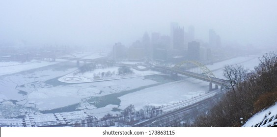 Downtown Pittsburgh During Winter Storm of January 2014