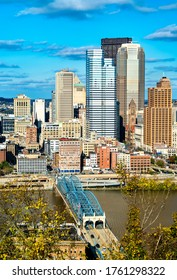 Downtown Pittsburgh and the Smithfield Street Bridge across the Monongahela River in Pennsylvania, United States
