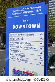 Downtown Portland direction signs - PORTLAND / OREGON - APRIL 16, 2017