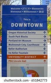 Downtown Portland direction signs - PORTLAND / OREGON - APRIL 16, 2017