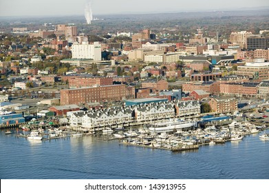 Downtown Portland Harbor with view of Maine Medical Center, Commercial street, Old Port and Back Bay.