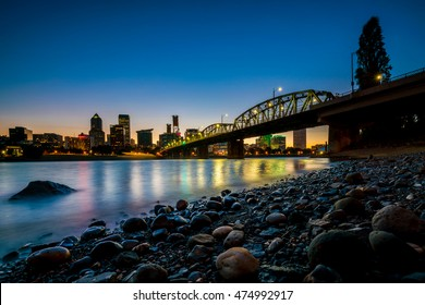 Downtown Portland Oregon skyline at night in USA