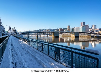 Downtown Portland, Oregon and a snow covered walking path