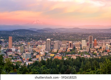 Downtown Portland, Oregon at sunset from Pittock Mansion.