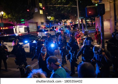 Downtown Portland, Oregon, USA. August 29, 2020. The BLM protesters clashed with Trump supporters. One person died in the conflict. The police then dispatched to disperse the crowd.