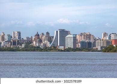 Downtown Porto Alegre at Guaiba River - Porto Alegre, Rio Grande do Sul, Brazil