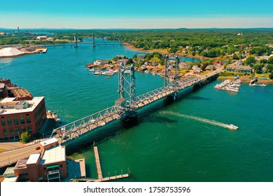 Downtown Portsmouth, NH (New Hampshire) Aerial Photo Piscataqua River And Memorial Bridge