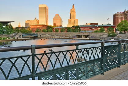 Downtown Providence and river at sunset, Rhode Island, USA