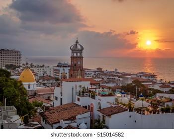 Downtown Puerto Vallarta at sunset - Puerto Vallarta, Jalisco, Mexico
