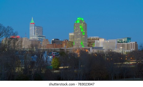 Downtown Raleigh, NC at night illuminated for winter holidays