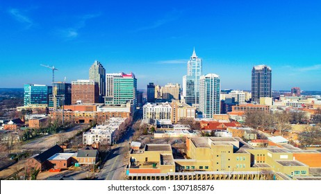 Downtown Raleigh, North Carolina, USA Drone Skyline Aerial