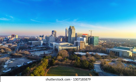 Downtown Raleigh, North Carolina, USA Drone Skyline Aerial
