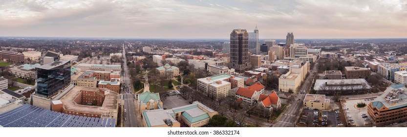The downtown Raleigh Skyline at sunset.