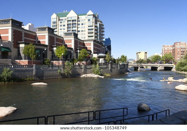 Downtown Reno architecture and river.