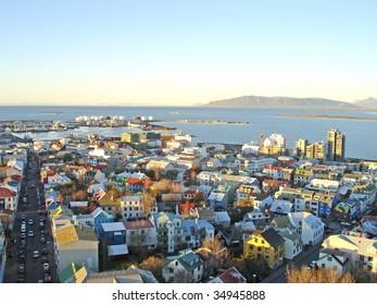 Downtown Reykjavik in Iceland - picture taken from Hallgrimskirkja church - the highest point of Reykjavik.