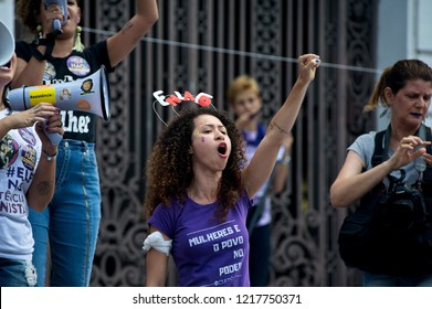 Downtown Rio de Janeiro, Brazil - September 29, 2018: Women take to the streets to protest against far-right candidate Jair Bolsonaro a week before the presidential vote